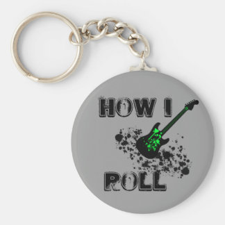 GUITAR HOW I ROLL BASIC ROUND BUTTON KEY RING