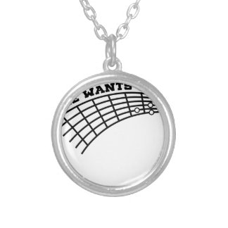 guitar humor silver plated necklace