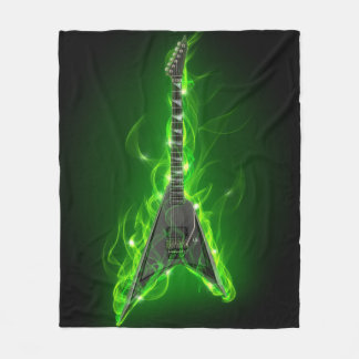 Guitar in Green Flames Fleece Blanket