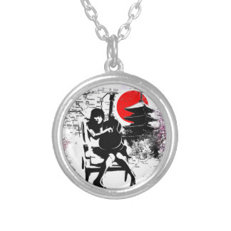 Guitar Japanese Girl Silver Plated Necklace