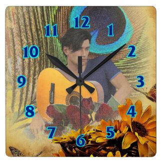 Guitar Man Square Wall Clock