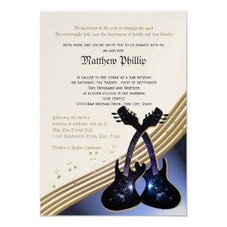 Guitar Music Bar Mitzvah 13 Cm X 18 Cm Invitation Card