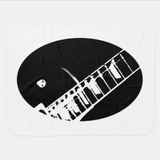 guitar neck stamp black and white buggy blanket