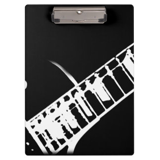 guitar neck stamp black and white clipboard