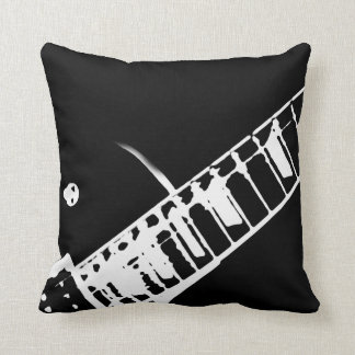 guitar neck stamp black and white throw cushions
