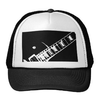 guitar neck stamp black and white trucker hat
