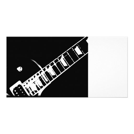 guitar neck stamp black and white custom photo card