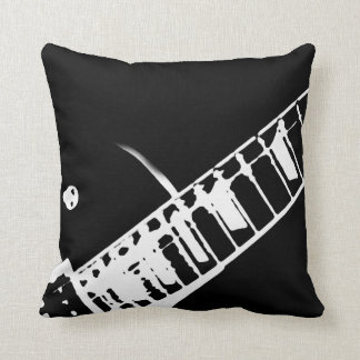guitar neck stamp black and white throw cushion
