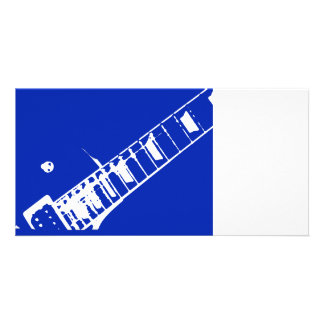 guitar neck stamp blue and white photo cards