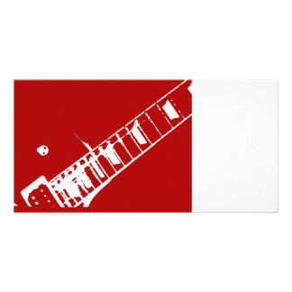 guitar neck stamp red and white musical instrument personalized photo card