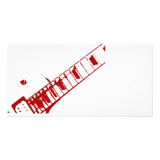 guitar neck stamp white and red instrument customized photo card