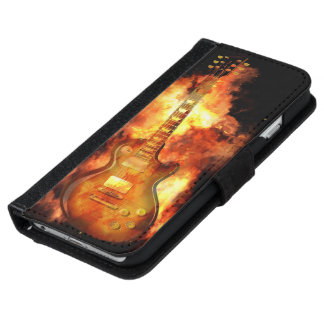 Guitar on fire iPhone 6 wallet case