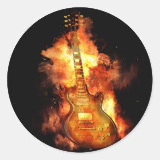 Guitar on fire round sticker