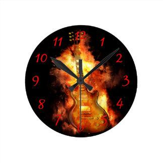Guitar on fire wallclock