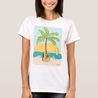 Guitar Palm at Sunset on the Beach T-Shirt