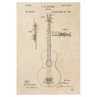 Guitar Patent Invention Wood Poster