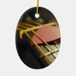 Guitar Pick Tucked in Strings Ceramic Ornament