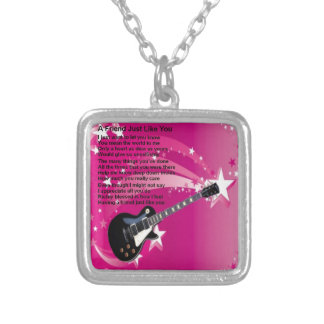 Guitar - Pink  Friend Poem Silver Plated Necklace