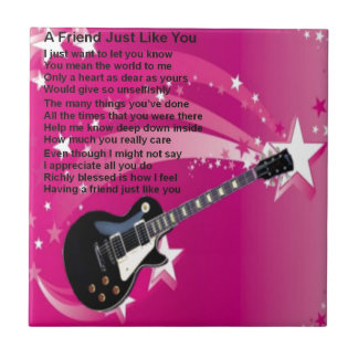 Guitar - Pink  Friend Poem Tile