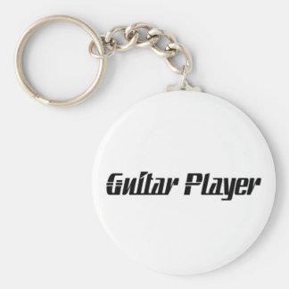 Guitar Player Basic Round Button Key Ring