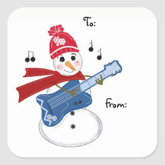Guitar Player Snowman Square Sticker