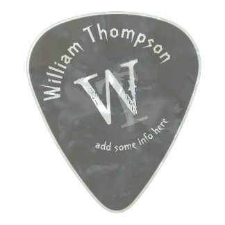 guitar-player's monogram - personalized black rock pearl celluloid guitar pick