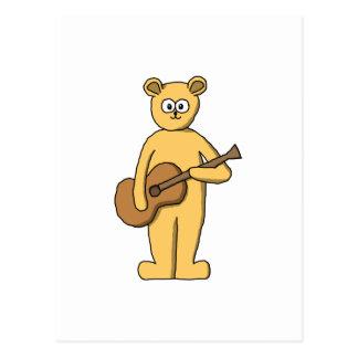 Guitar Playing Bear. Postcard