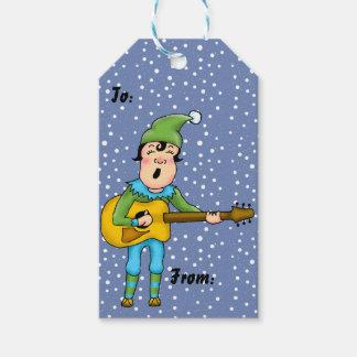 Guitar Playing Elf Christmas Gift Tags