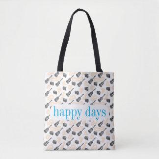Guitar Radio Pattern Happy D Custom Tote Bag
