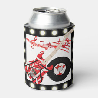Guitar Record and Music Notes With Light Border Can Cooler