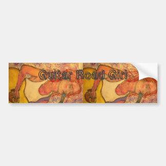 Guitar Road Girl Bumper Sticker