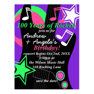 Guitar: Rock Star Birthday Invitation Postcard