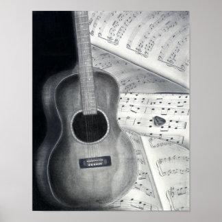 Guitar & Sheet Music Poster Art