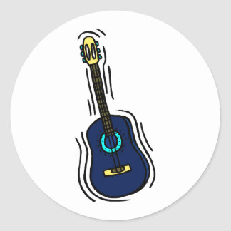 guitar simple abstract blue yellow.png classic round sticker