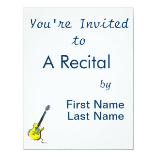 "guitar single cutaway music design yellow.png 4.25"" x 5.5"" invitation card"