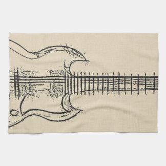 Guitar Sketch Tea Towel