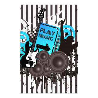 Guitar & Speakers Time To Party Personalized Stationery