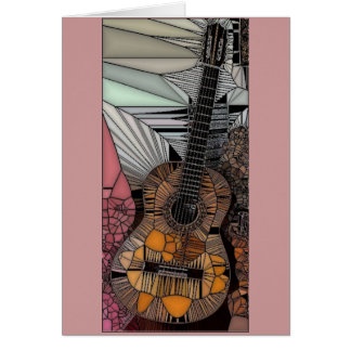 Guitar Stained Glass Greeting Card
