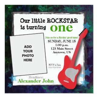 "Guitar & Stars Boy's Rockstar Birthday 5.25"" Square Invitation Card"