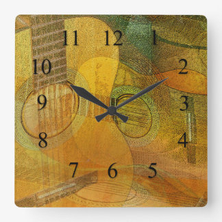 Guitar Study Two 2016 Square Wall Clock