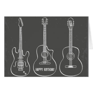 Guitar trio retro grunge music birthday card