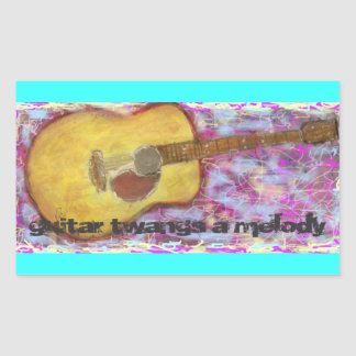guitar twangs a melody Acoustic Rectangle Sticker