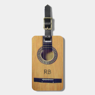 Guitar with (or without) your Initial(s) Luggage Tag