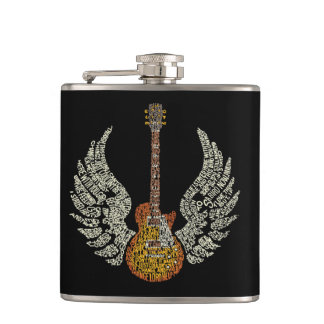 Guitar with wings hip flask