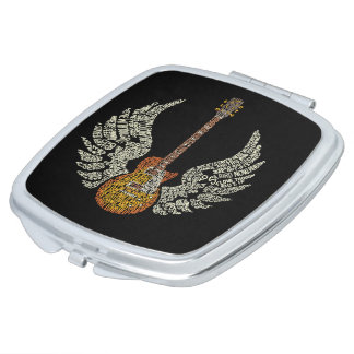Guitar with wings makeup mirrors