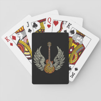 Guitar with wings playing cards