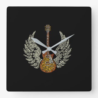 Guitar with wings square wall clock