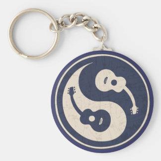 Guitar Yang -blue Basic Round Button Key Ring