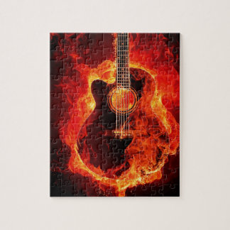 Guitare en feu jigsaw puzzle