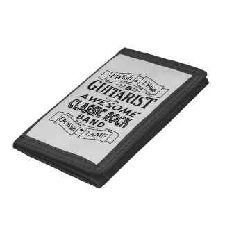 GUITARIST awesome classic rock band (blk) Tri-fold Wallets
